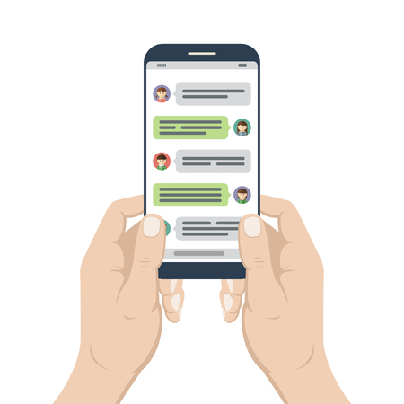 Illustration pour Chatting and messaging. Smartphone in hands with opened messenger app window. Mobile phone chat message notifications. Social network, online conversation concept. Vector illustration - image libre de droit