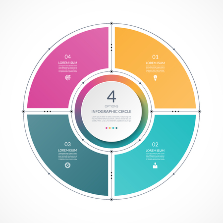 Illustration pour Infographic circle in thin line flat style. Business presentation template with 4 options, parts, steps. Can be used for cycle diagram, graph, round chart. - image libre de droit