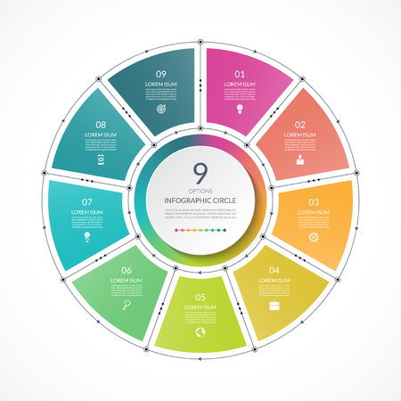 Illustration pour Infographic circle in thin line flat style. Business presentation template with 9 options, parts, steps. Can be used for cycle diagram, graph, round chart. - image libre de droit