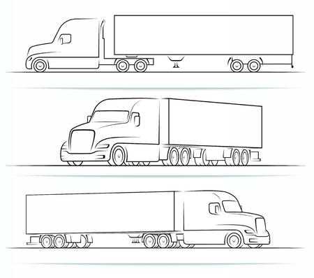 Ilustración de American truck silhouettes, outlines, contours - Imagen libre de derechos