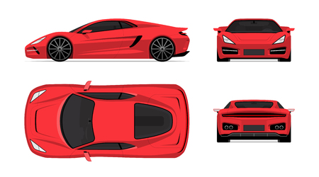 Illustration for Sports car set in flat design style. Front, back, side and top view of the supercar isolated on white background - Royalty Free Image