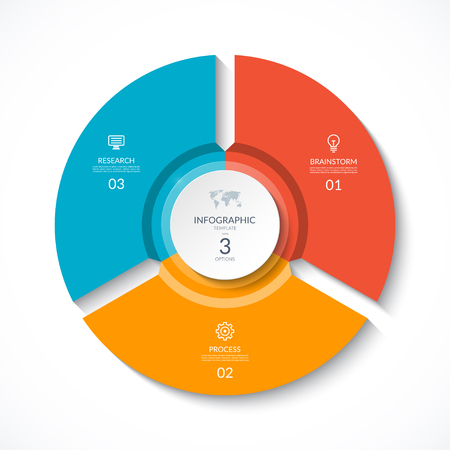 Illustration pour Vector infographic circle. Cycle diagram with 3 stages. Round chart that can be used for report, business analytics, data visualization and presentation. - image libre de droit