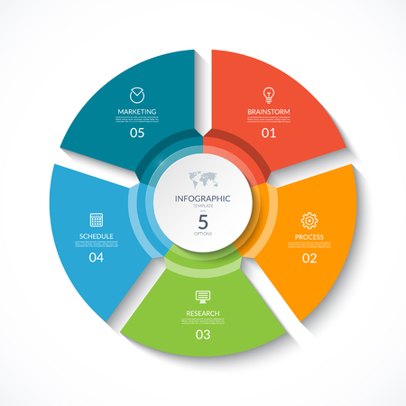 Illustration pour Vector infographic circle. Cycle diagram with 5 stages. Round chart that can be used for report, business analytics, data visualization and presentation. - image libre de droit