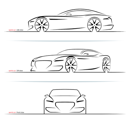 Illustration pour Set of sports car silhouettes isolated on white background. Side, three-quarter and front view. Vector illustration - image libre de droit