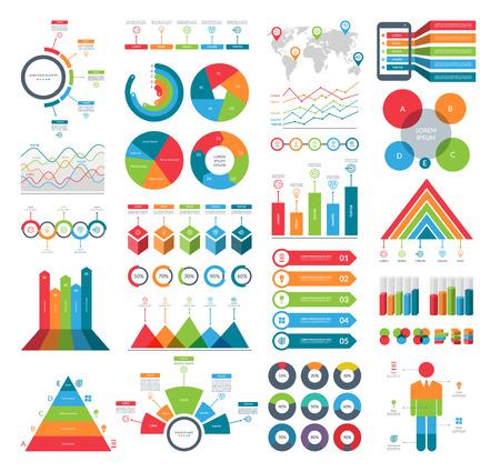Ilustración de Set of infographic elements with simple templates for business analytics, data visualization, presentation. Vector kit with diagrams, histograms, timeline, pie charts. - Imagen libre de derechos