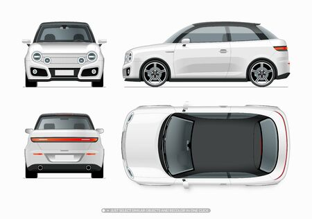 Illustration for Modern compact city car mockup. Side, top, front and rear view of realistic small white noname car isolated on white background. - Royalty Free Image
