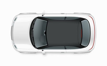 Illustration pour Modern compact city car mockup. Top view of realistic small white noname car isolated on white background. - image libre de droit