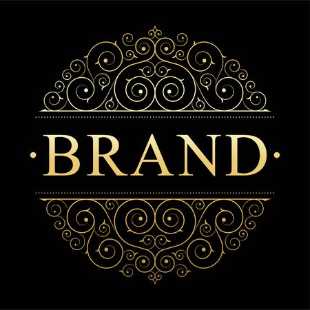 Illustration for Retro vintage luxury logo template with floral elegant calligraphic elements. - Royalty Free Image