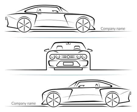 Illustration pour Set of sports car silhouettes outlines contours isolated on white background. Vector illustration - image libre de droit