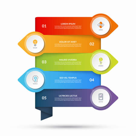 Illustration pour Infographic template with arrows pointing in opposite directions and circular elements, buttons. Business concept with 5 options, steps. Can be used as diagram, graph, chart, timeline, workflow layout - image libre de droit