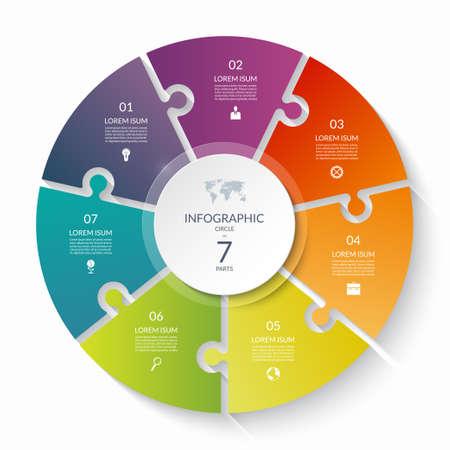 Illustration pour Puzzle infographic circle with 7 steps, options, pieces. Seven-part cycle chart. Can be used for diagram, graph, report, presentation, web design. - image libre de droit