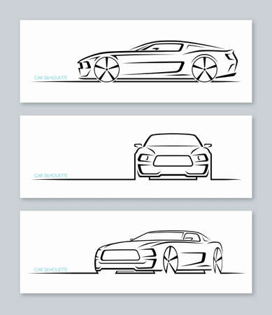 Illustration for Set of muscle car silhouettes isolated on white background. - Royalty Free Image