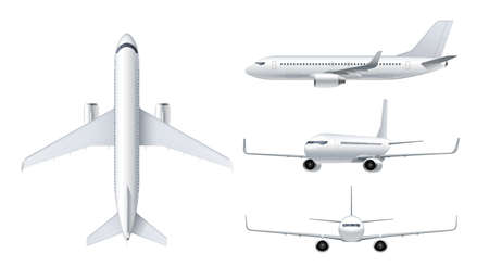 Illustration for Flying airplane, jet aircraft, airliner. Top, front, side, 3d perspective view of detailed passenger air plane isolated on white background. Vector illustration - Royalty Free Image