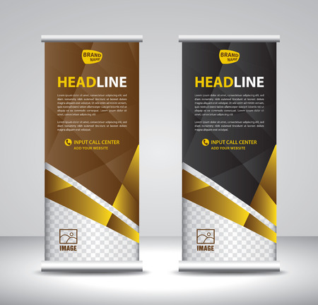 Illustration pour Roll up banner template vector, banner, stand, exhibition design, advertisement, pull up, x-banner and flag-banner layout, poster, presentation, ad, print - image libre de droit