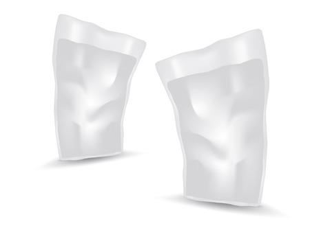 Illustration pour White Blank Foil Food Or Drink Bag Packaging vector, package design, 3d, product design, realistic packaging - image libre de droit