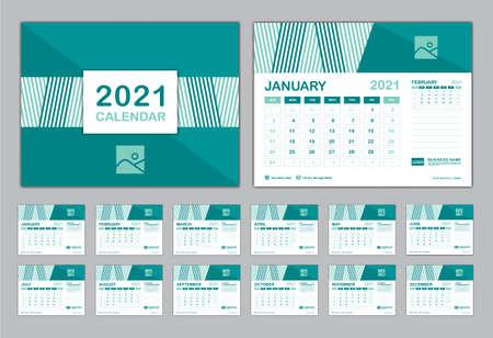 Illustration pour Calendar 2021 template vector, Set Desk calendar 2021, Planner vector diary in a Modern style, Week start on Sunday, Set of 12 Months, Blue cover design. - image libre de droit