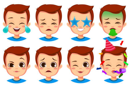 Illustration for cute boy facial expression set - Royalty Free Image