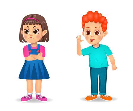 Illustration for boy kid irritating girl kid - Royalty Free Image