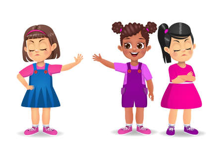 Illustration for girl kid get angry with her friend vector - Royalty Free Image