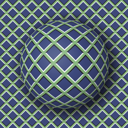 Checkered ball rolling along the checkered surface. Abstract vector optical illusion illustration. Extravagant pattern and tile of seamless wallpaper.