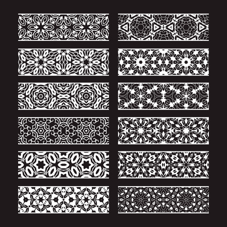 Illustration pour Patterned elements for vector brushes creating. Borders templates kit for frames design and page decorations. - image libre de droit