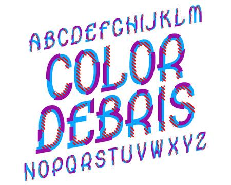 Illustration pour Color Debris typeface. Colorful font. Isolated english alphabet. - image libre de droit