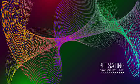 Illustration pour Pulsating futuristic background design with colourful dots and lines array. Abstract cyberspace background for banner, flyer or poster. - image libre de droit