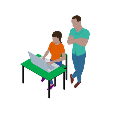 Illustration for Girl sitting at desk with laptop and guy is standing nearby and watching what she is doing. People in isometric view. Teacher and student or boss and employee. - Royalty Free Image