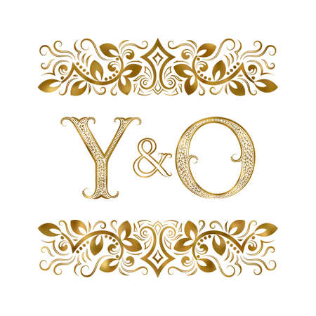 Illustration pour Y and O initials vintage icon. The letters surrounded by ornamental elements. Wedding or business partners monogram in royal style. - image libre de droit