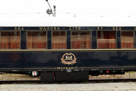 VARNA, BULGARIA - AUGUST 31, 2010: The legendary 'Orient Express' arrives at Varna train station. The luxury train travels  between Paris and Istanbul.