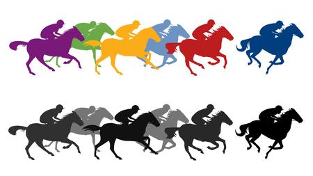 Ilustración de Horse race silhouette with jockey, vector illustration. - Imagen libre de derechos