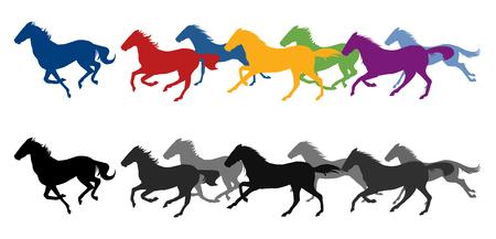 Ilustración de Running horses silhouette - Imagen libre de derechos
