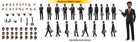Illustration pour Businessman Character Model sheet with Walk cycle Animation Sequence - image libre de droit