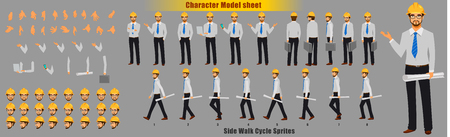 Illustration for Engineer Character Model sheet with Walk cycle Animation Sequence - Royalty Free Image
