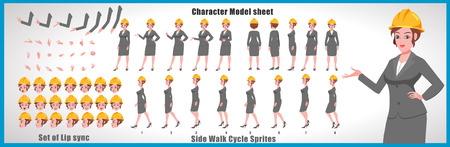 Illustration for Female Engineer Character Model sheet with Walk cycle Animation Sequence - Royalty Free Image
