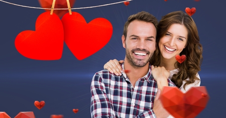 Composite image of romantic couple embracing each other