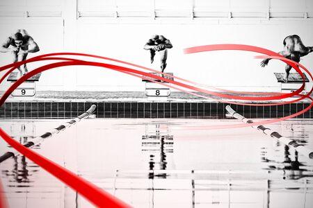 Photo pour Grey line design against swimmers plunging in the pool - image libre de droit