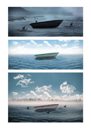 Photo pour Composition of three photos with boat at sea. travel and nature concept digitally generated image. - image libre de droit