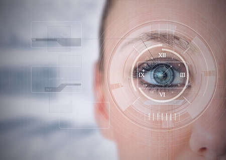 Foto de Round scanner and digital interface with data processing against close up of female human eye. cyber security and digital interface technology concept - Imagen libre de derechos