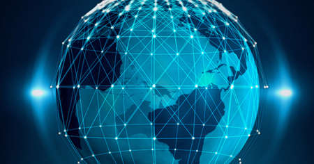 Photo for Composition of network of connections with glowing spots over globe on blue background. global connection, communication and networking concept digitally generated image. - Royalty Free Image