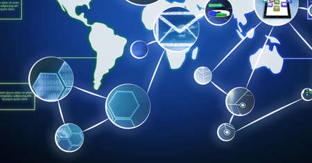 Photo for Network of digital icons over world map against blue background. global networking and computer interface technology concept - Royalty Free Image