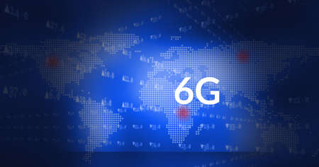 Foto de Composition of 6g text and data processing over world map on blue background. global networks, communication and technology concept digitally generated image. - Imagen libre de derechos