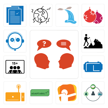 Set Of 13 simple editable icons such as inquiry, shepherd, dab, adaptability, set top box, vr headset, number of players, hiker, live support can be used for mobile, web UI