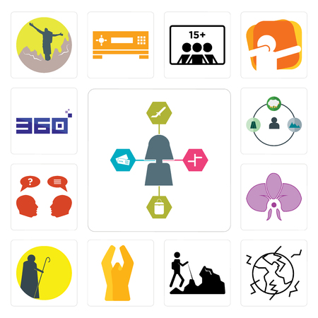 Set Of 13 simple editable icons such as travel agent, earthquake, hiker, folded hands, shepherd, orchid, inquiry, 360 degree can be used for mobile, web UI