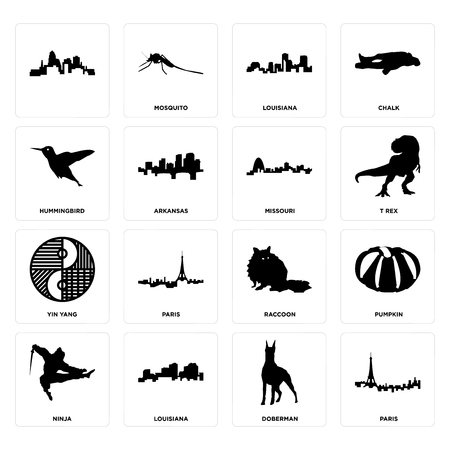 Set Of 16 simple editable icons such as paris, doberman, louisiana, ninja, pumpkin, , hummingbird, yin yang, missouri can be used for mobile, web UI