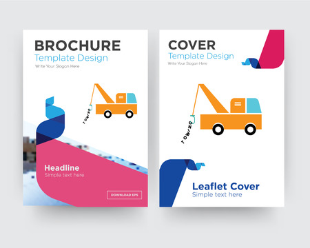 tow truck brochure flyer design template with abstract photo background, minimalist trend business corporate roll up or annual report