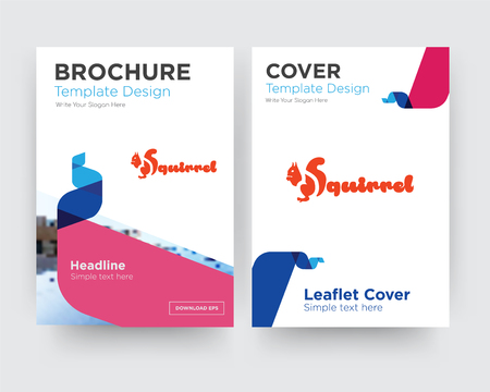 squirrel brochure flyer design template with abstract photo background, minimalist trend business corporate roll up or annual report