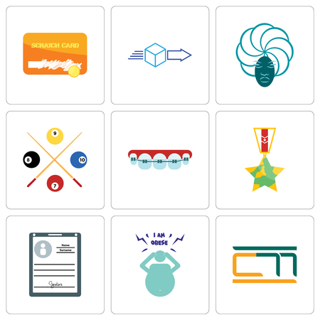 Set Of 9 simple editable icons such as obesity, personal details, veteran, orthodontist, snooker, goddess, dispatch, scratch card, can be used for mobile, web