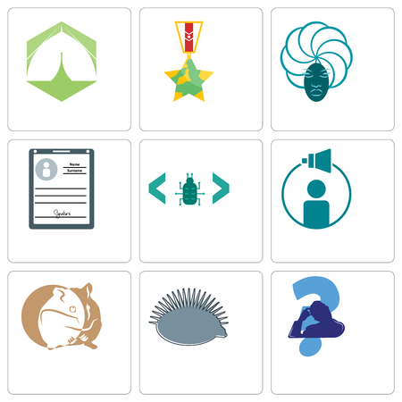 Set Of 9 simple editable icons such as scratching head, hedgehog, hamster, campaign management, software bug, personal details, goddess, veteran, marquee, can be used for mobile, web