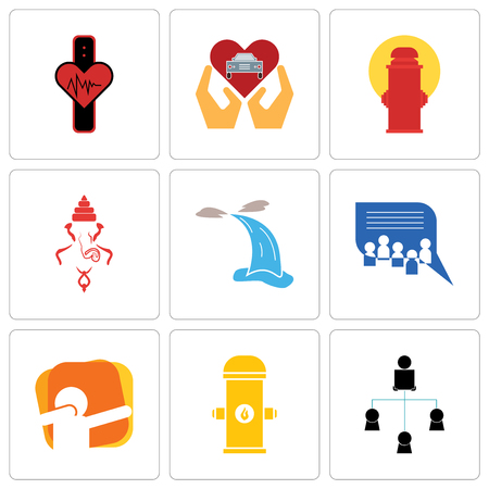 Set Of 9 simple editable icons such as distributor, fire hydrant, dab, discussion board, waterfall, ganesh, car dealer, tracker, can be used for mobile, web